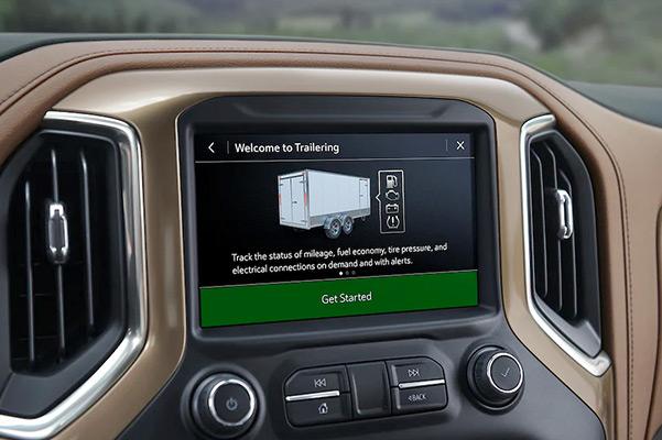 2021 Chevy Silverado center dash cam showing towing options