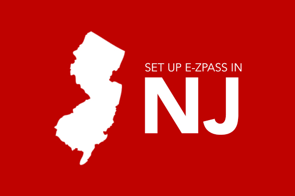 Icon of New Jersey with the text set up E-ZPASS in NJ