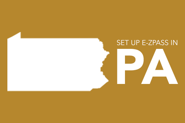 Icon of Pennsylvania with the text set up E-ZPASS in PA